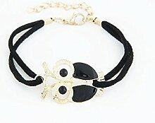 CAOLATOR Eule Armband Damen Armbänder Charm Armband Frau Verstellbares Seil Schmucksachen Geschenk Schwarz