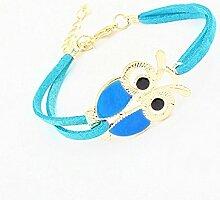 CAOLATOR Eule Armband Damen Armbänder Charm Armband Frau Verstellbares Seil Schmucksachen Geschenk Blau