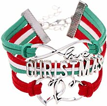 CAOLATOR Geflochtenes Armband Weihnachtsbriefe Weihnachtsgeschenke Armreif Handgefertigt Woven Armband Damen Geflochten Verstellbaren