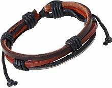 CAOLATOR Gewebtes Seil Lederarmband Retro Männer Armband Exotischer Stil Handgewebt Armreif Verschiebbarer Verschluss