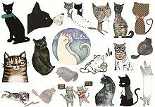CAOLATOR Katzen Sticker Kinder Aufkleber Mädchen