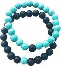 CAOLATOR Männer und Frauen Armreif Dunkles Mattblau Türkis Armreifen Achat Buddha Perlen Armband Se