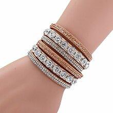 CAOLATOR Mehrschichtiges Armbänder Weidenägel Heißbohren Armband Leder Flanell Armreif Frauen Schmucksachen Geschenk Khaki