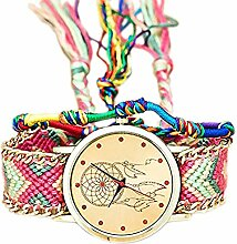 CAOLATOR Nationaler Stil Uhr Damen Retro Elemente Traumnetz Muster Geflochtene Uhr Armband (E)