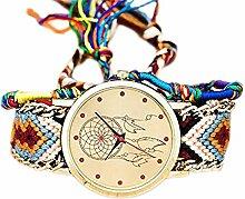 CAOLATOR Nationaler Stil Uhr Damen Retro Elemente Traumnetz Muster Geflochtene Uhr Armband (F)