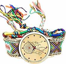 CAOLATOR Nationaler Stil Uhr Damen Retro Elemente Traumnetz Muster Geflochtene Uhr Armband (B)