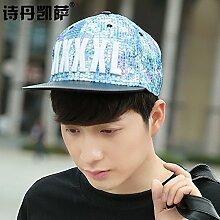 Cap Kinder Sommer koreanischen Tide Baseball cap Sonnenschutz hüte Hüte weibliche Außenpool im Sommer Sonnencreme hip hop Cap, einstellbar (57 cm), mediumblue