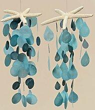 Capiz-Windspiel türkis petrol blau Länge 70 cm, Garten, Deko, Gartendeko (Kreise (links))