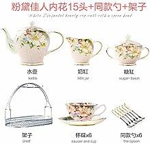 Cappuccino Becher-Set Bone China Kaffee Tasse Afternoon Tea Tee Tasse und Untertasse Teekanne schwarz Tee Home D