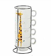 Cappuccino Tassen 4Pcs Porzellan Teetassen Mit