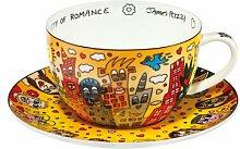 Cappuccinotasse mit Untertasse City of Romance aus