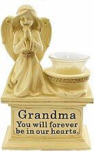 """Capstern Gartendeko Betender Engel, kniend, groß, Harz, mit Glas T Lite Bastler, Weiß, Stein, mit Aufschrift """"Grandma"""