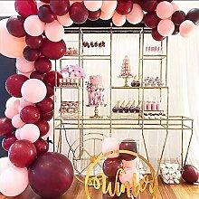 Captank Ballon-Girlande mit Perlen, Weinrot,
