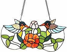 Capulina Tiffany-Glas-Fensterpaneel, 37 cm breit,