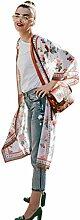 Cardigan Damen,Binggong FEITONG Frauen Floral böhmischen Chiffon Kimono Cardigans Bluse Cover Ups Aufflackern Hülse Lange Kimono Fashionable Cardigan (XL, Orange)