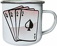 Cards Retro, Zinn, Emaille 10oz/280ml Becher Tasse