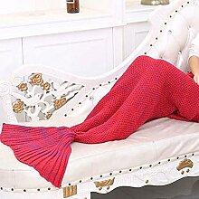 Carejoy Meerjungfrau Muster Wolldecke Schlafsack Strick Mermaid Tail Geeignet für Frühjahr und Herbst Winter Festival Schlafsack (Rot)