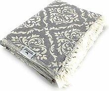 Carenesse Tagesdecke BAROCK Muster grau, 145 x 210