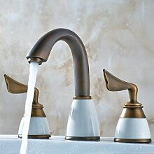 Caribou@Continental Hahn drei Löcher Waschbecken Wasserhahn warmes und kaltes Wasser aus Kupfer?B Waschtischarmatur Wasserhahn Spültisch Küche Waschtisch Waschenbecken Bad