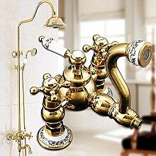 Caribou@Europäische vergoldete Kupfer einstellbare Dusche heiß und kalte Dusche Set Armaturen