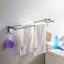 Caribou Handtuch-Bar Edelstahl Doppel Handtuchhalter, einfache solide verdickt mit Haken Handtuchhalter, Bad Hardware-Bad-Accessoires