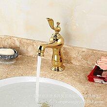 Caribou Küchenarmatur Waschtischarmatur Wasserhahn Spültisch Küche Waschtisch Waschenbecken Bad Waschtisch Armatur Gold