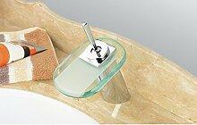 Caribou@Waschtischarmatur Wasserhahn Spültisch Küche Waschtisch Waschenbecken Bad Europäische moderne Messing Bad Waschbecken Glas Wasserfall Waschbecken Wasserhahn