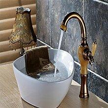Caribou@Waschtischarmatur Wasserhahn Spültisch Küche Waschtisch Waschenbecken Bad Tippen Sie oben All-Bronze, jade europäischen warm- und Kaltwasser Becken Bad-Accessoires