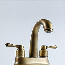 Caribou@Waschtischarmatur Wasserhahn Spültisch Küche Waschtisch Waschenbecken Bad Alle Kupfer Antike Doppelloch kaltes wasserbadezimmer Waschbecken Wasserhahn
