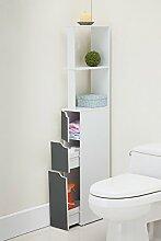 Carinda – Badregal / Badezimmer Regal in Weiß und Hellgrau (15 cm schmal / 136 cm hoch)
