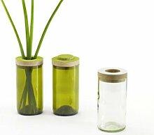 Caritas sidebyside Vase & Dose, ohne Flock, Blumenvase, Vorratsdose, Glasdose, Glasvase, Farbe: grün, Durchmesser 7,5 cm, Höhe 16,5 cm