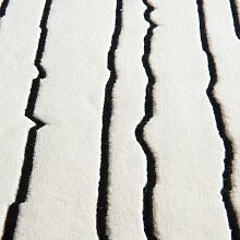 Carl Hansen & Son NUP004 Woodlines Teppich 200x300 Weiß Mit Schwarzen Streifen (l) 300.00 X (b) 200.00 Cm