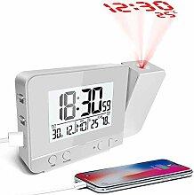 CARLAMPCR Projektionswecker, Digital Uhr mit Zeit