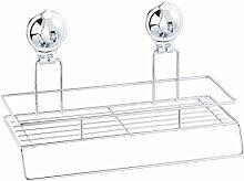 Carlo Milano Handtuchhalter: Gitter-Regal mit Handtuch-Halter und Saugnapf-Halterung, Edelstahl (Küchenregal)