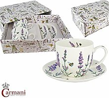 CARMANI - 2er Set Porzellan-Tasse und Untertasse