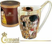 CARMANI - Groß Porzellan-Becher mit 'Der Kuss' von Gustav Klimt dekoriert 500ml