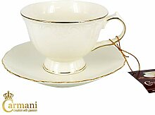 Carmani Porzellan-Tasse mit Untertasse,