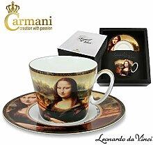 CARMANI - Porzellan-Tasse und Untertasse mit Da