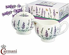 CARMANI - Porzellan Zuckerdose und Milchkännchen