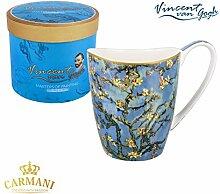 CARMANI - PorzellanBecher für Tee, Kaffee in Geschenk-Box mit Vincent Van Gogh - Mandelblüten 400 ml