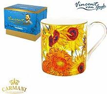 CARMANI - PorzellanBecher für Tee, Kaffee in Geschenk-Box mit Vincent Van Gogh - Sonneblumen 380 ml