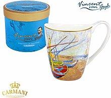 CARMANI - PorzellanBecher für Tee, Kaffee in Geschenk-Box mit Vincent Van Gogh - Fischerboot am Strand von Saintes Maries 400 ml