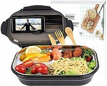 Carpe Diem Bento Lunchbox mit Tasche, Edelstahl,