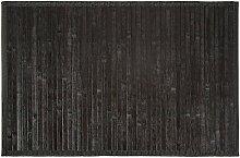 Carpemodo Bambusmatte Badvorleger Badeteppich Bambusteppich / Farbe: Schwarz / Größe: 50x80 cm / Unterseite rutschhemmend / mit Textilband eingefass