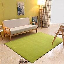 carpet Dickes Korallen Samtteppich maschinenwaschbar Haushalt minimalistisch modernen Wohnzimmer Couchtisch Teppich Schlafzimmer Nacht Decke Rechteck (Farbe: Grasgrün) Bettmatten ( größe : 0.8*2.0 M )