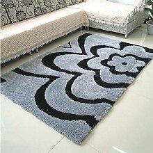 carpet Encryption dicken Teppich im Wohnzimmer Teppich Schlafzimmer Teppich Sofatisch Nacht Decke gepflastert Rechteck Teppich (Farbe: grau Blume) Bettmatten ( größe : #2 )