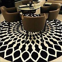 carpet Europäischer Stil Schwarz-Weiß-Runde Teppich Wohnzimmer Couchtisch Sofa Schlafzimmer Drehstuhl Korb Matten Bettmatten ( größe : 180*180cm round )