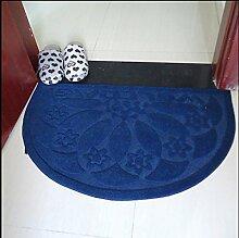 carpet Halbkreis Fußmatte Schlafzimmer Bad gebürstet Teppichmatten rutschfeste Badematte saugfähig Bettmatten ( Farbe : Blau )