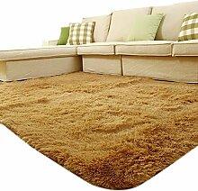 carpet hohe wolle samt schlafzimmer wohnzimmer tisch teppich 140 * 200 Bettmatten ( Farbe : Gelb , größe : 160*230 )