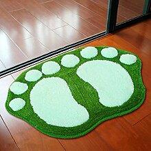carpet Liebe große Füße saugfähige Matratzen Matratzen Badezimmer Matratzen Küche Teppich Cartoon Schlafzimmer Badematten Bettmatten ( Farbe : Grün , größe : 35cm )